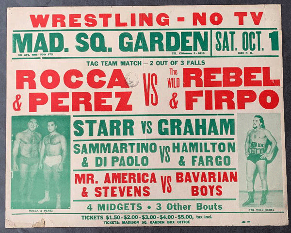 ROCCA, ANTONINO & MIGUEL PEREZ VS. PAMPIRO FIRPO & THE WILD REBEL ON SITE WRESTLING POSTER (1960)