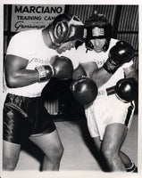 MARCIANO, ROCKY-TOXIE HALL SPARRING WIRE PHOTO (1955-PREPARING FOR MOORE)