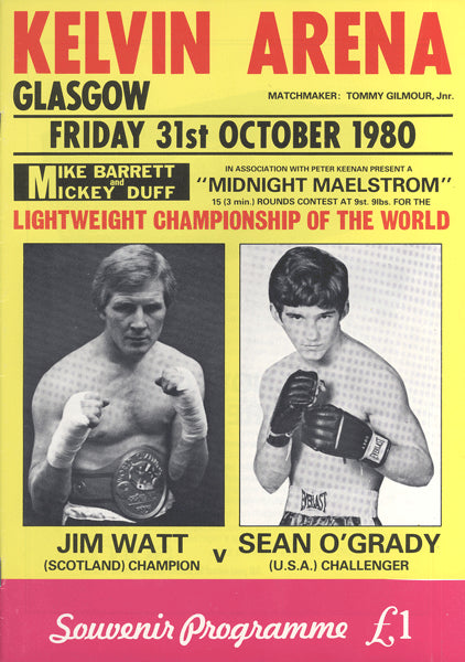 WATT, JIM-SEAN O'GRADY OFFICIAL PROGRAM (1980)