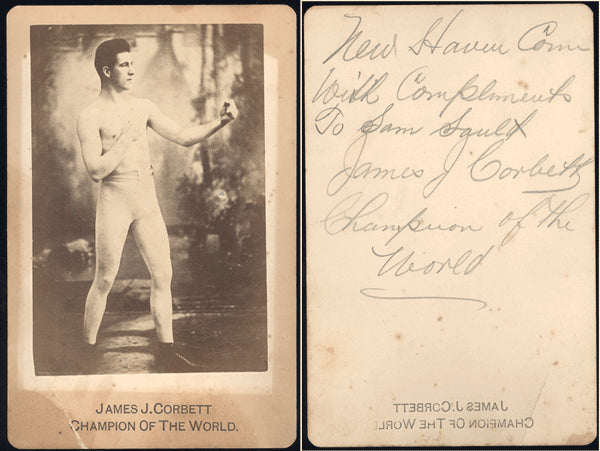 CORBETT, JAMES J. SIGNED CABINET CARD (AS CHAMPION)