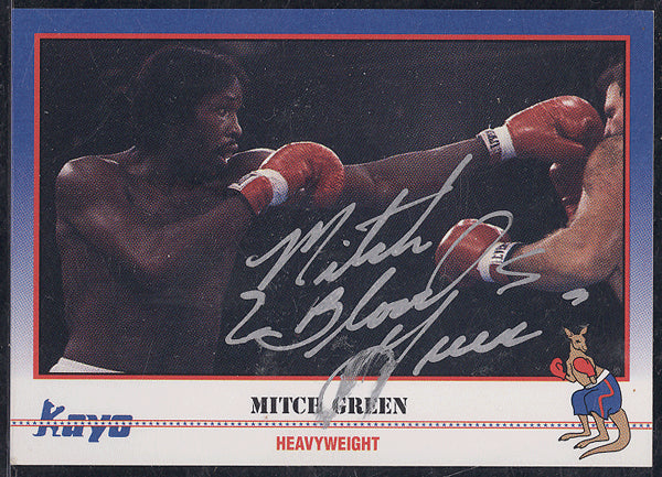 "GREEN, MITCH ""BLOOD"" SIGNED KAYO BOXING CARD"