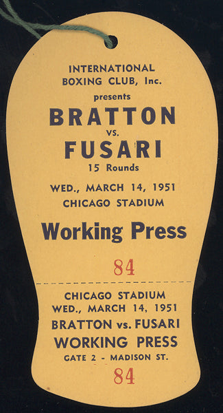 CHARLIE FUSARI-JOHNNY BRATTON WORKING PRESS PASS (1951)