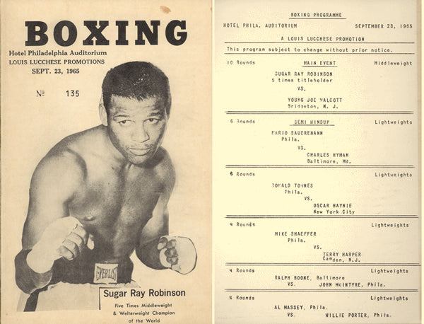 ROBINSON, SUGAR RAY-HARVEY MCCULLOUGH OFFICIAL PROGRAM (1965)