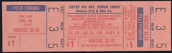 1980 NEW YORK GOLDEN GLOVES FULL TICKET (CAMACHO, BRELAND, MITCH GREEN)