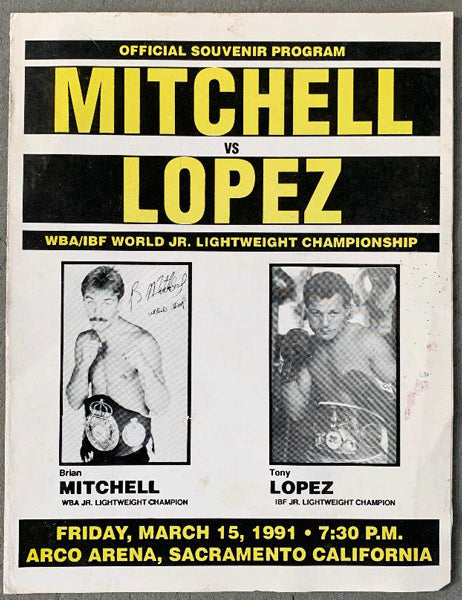MITCHELL, BRIAN-TONY LOPEZ OFFICIAL PROGRAM (1991)