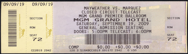 MAYWEATHER, JR., FLOYD-JUAN MANUEL MARQUEZ FULL CLOSED CIRCUIT (2009)