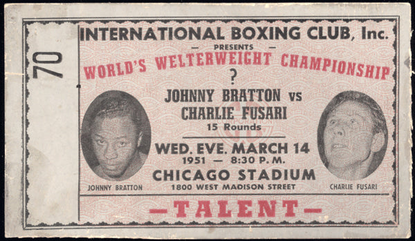 BRATTON, JOHNNY-CHARLIE FUSARI STUBLESS ON SITE TICKET (1951)