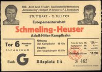 SCHMELING, MAX-ADOLPH HEUSER ORIGINAL STUBLESS ON SITE TICKET (1939)