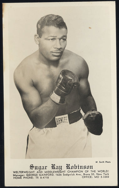 ROBINSON, SUGAR RAY REAL PHOTO POSTCARD (EARLY 1950'S)