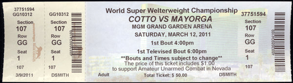 COTTO, MIGUEL-RICARDO MAYORGA FULL TICKET (2011)