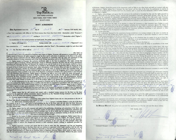 HAGLER, MARVIN-FULGENCIO OBELMEJIAS SIGNED CONTRACT (1982)