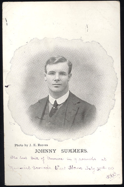 SUMMERS, JOHNNY REAL PHOTO POSTCARD (1909)