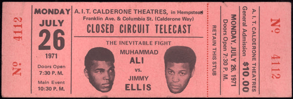 ALI, MUHAMMAD-JIMMY ELLIS FULL CLOSED CIRCUIT TICKET (1971)