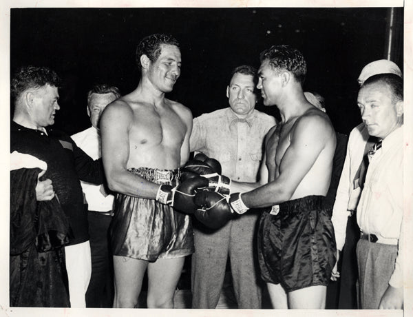 BAER, MAX-MAX SCHMELING WIRE PHOTO (1933-BEFORE START OF FIGHT)