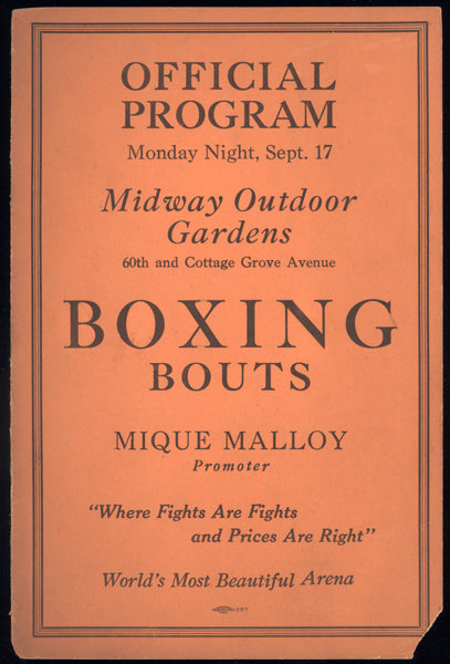 MCTIGUE, MIKE-TUFFY GRIFFITHS OFFICIAL PROGRAM (1928)