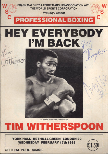 WITHERSPOON, TIM-MARICIO VILLEGAS OFFICIAL PROGRAM (1988-SIGNED BY WITHERSPOON)