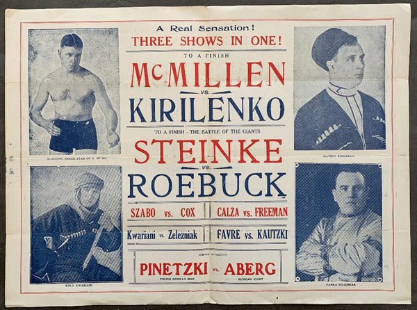 STEINKE, HANS-TINY ROEBUCK & JIM MCMILLEN-MATROS KIRILENKO OFFICIAL WRESTLING PROGRAM (1932)