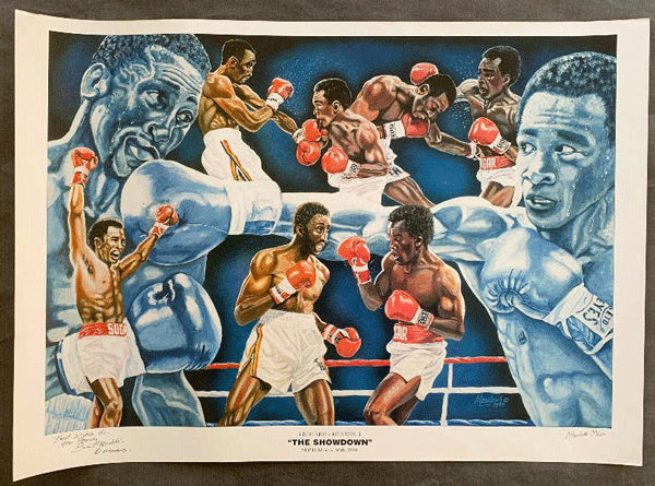 LEONARD, SUGAR RAY-THOMAS HEARNS I LITHOGRAPH POSTER (1981-SIGNED BY ARTIST)