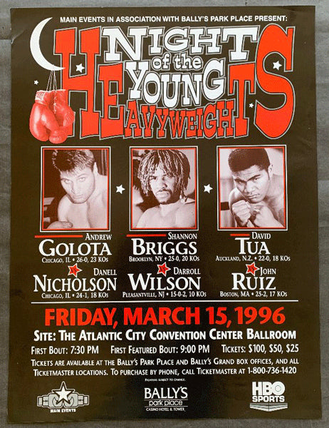 NIGHT OF YOUNG HEAVYWEIGHTS ON SITE POSTER (1996-TUA, GOLOTA, GRANT, BRIGGS0