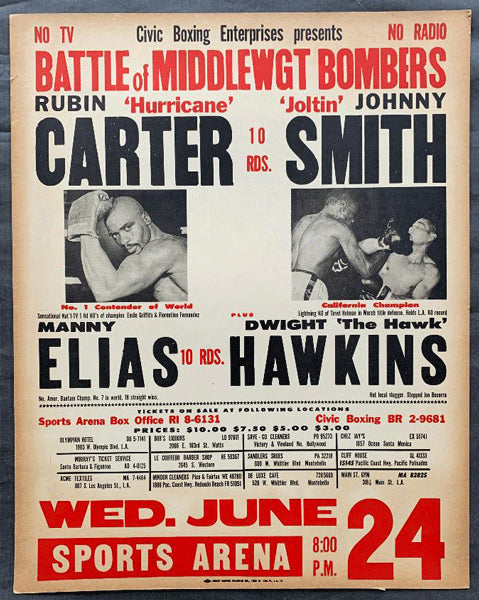 "CARTER, RUBIN ""HURRICANE-CLARENCE JAMES ON SITE POSTER (1964)"