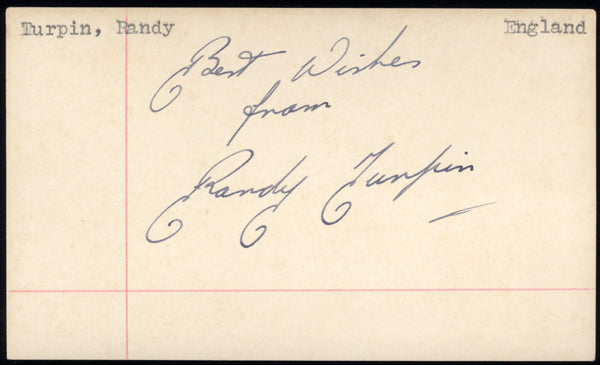 TURPIN, RANDY SIGNED INDEX CARD