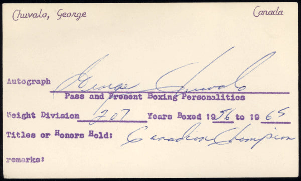 CHUVALO, GEORGE VINTAGE SIGNED INDEX CARD