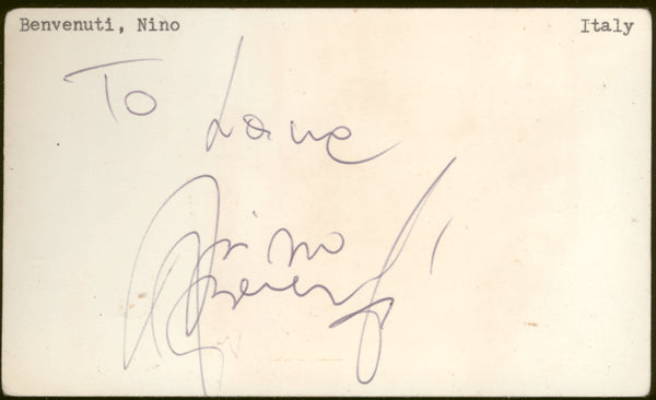 BENVENUTI, NINO VINTAGE SIGNED INDEX CARD