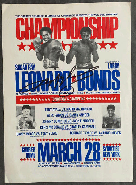 LEONARD, SUGAR RAY-LARRY BONDS SIGNED ON SITE POSTER (1981-SIGNED BY LEONARD)