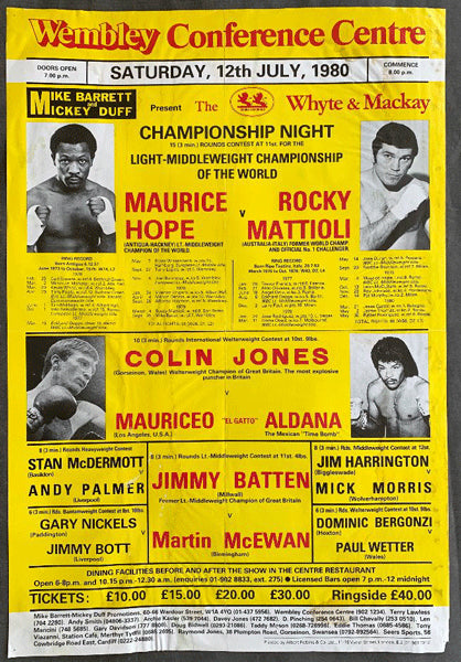 HOPE, MAURICE-ROCKY MATTIOLI ON SITE POSTER (1980)