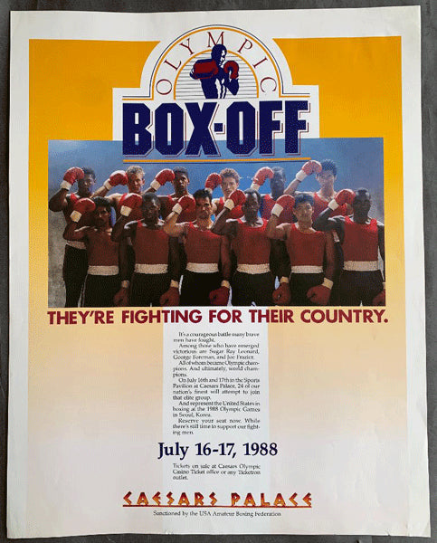 1988 OLYMPIC BOX OFFS ON SITE POSTER (BOWE< MERCER, JONES, JR.)