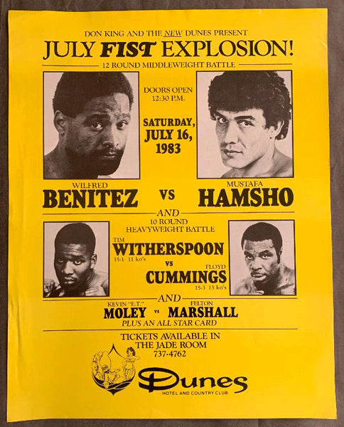 BENITEZ, WILFRED-MUSTAFA HAMSHO & TIM WITHERSPOON-FLOYD CUMMINGS ON SITE POSTER (1983)