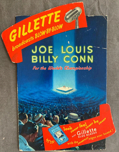 LOUIS, JOE-BILLY CONN I GILLETTE ADVERTISING STANDEE (1941-SMALL VERSION)