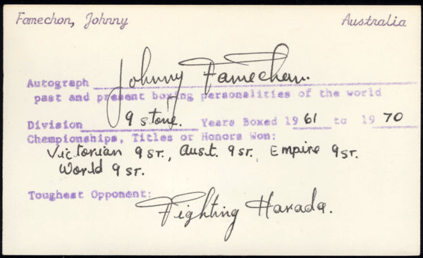 FAMECHON, JOHNNY DUAL SIGNED INDEX CARD