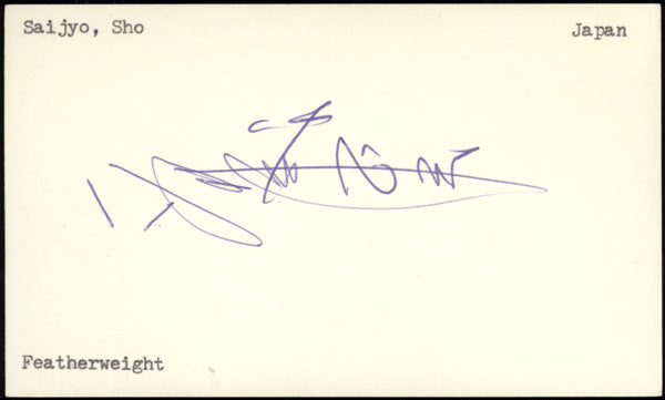 SAIJO, SHO SIGNED INDEX CARD