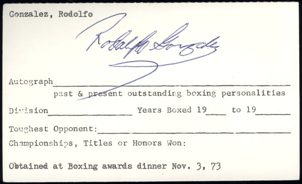 "GONZALEZ, RODOLFO ""GATO"" SIGNED INDEX CARD"