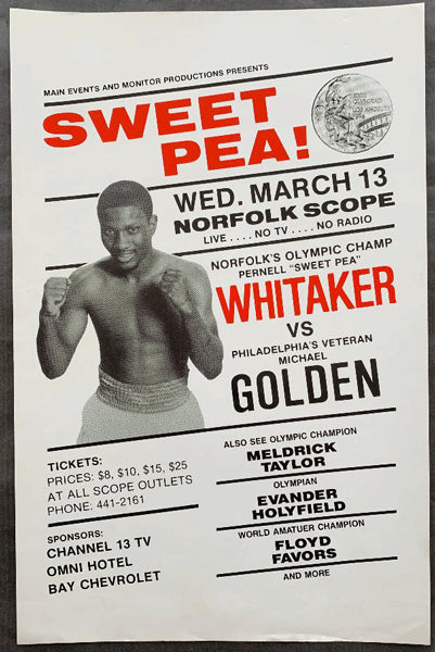 HOLYFIELD, EVANDER-FRED BROWN & PERNELL WHITAKER-MIKE GOLDEN ON SITE POSTER (1985)