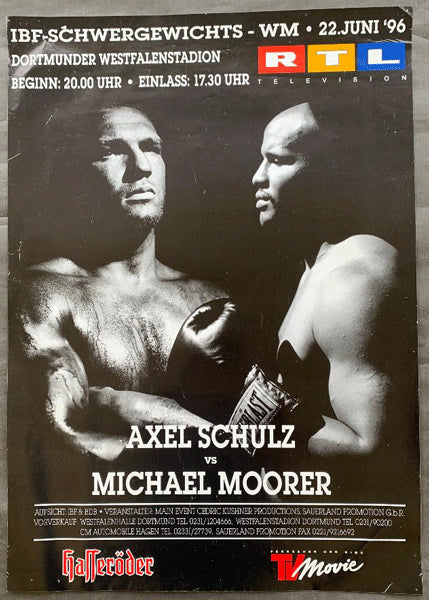 MOORER, MICHAEL-AXEL SCHULZ ON SITE POSTER (1996-MOORER WINS TITLE)