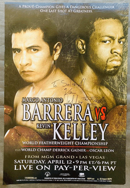 BARRERA, MARCO ANTONIO-KEVIN KELLEY SIGNED PAY PER VIEW POSTER (2003-SIGNED BY KELLEY)