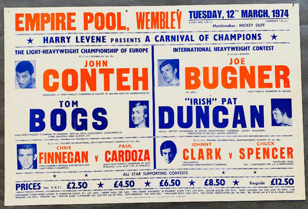 CONTEH, JOHN-TOM BOGS & JOE BUGNER-PAT DUNCAN ON SITE POSTER (1974)