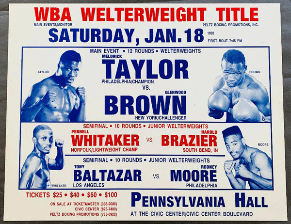TAYLOR, MELDRICK-GLENWOOD BROWN & PERNELL WHITAKER-HAROLD BRAZIER ON SITE POSTER (1992)