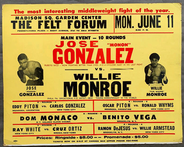 "MONROE, WILLIE ""THE WORM""-JOSE GONZALEZ ON SITE POSTER (1973)"