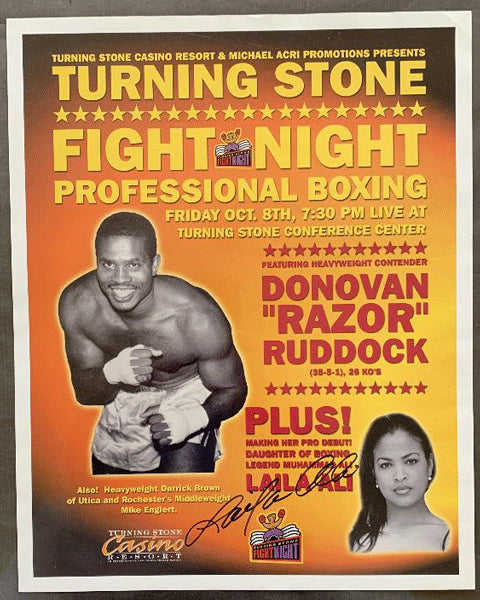 ALI, LAILA-APRIL FOWLER ON SITE POSTER  (1999-PRO DEBUT SIGNED BY LAILA ALI)