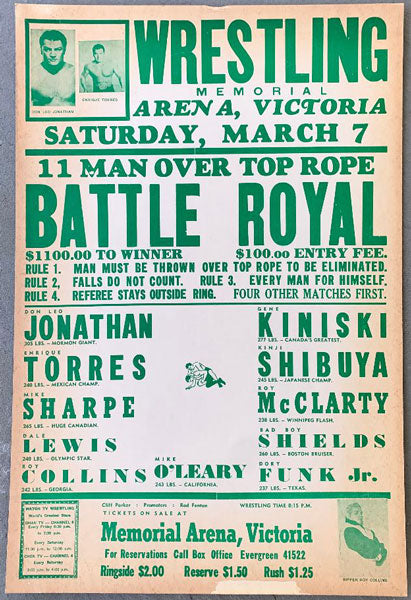 BATTLE ROYAL WRESTLING ON SITE POSTER (1964-JONATHAN, TORRES, KINISKI)