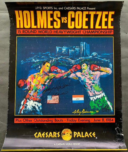 HOLMES, LARRY-GERRIE COETZEE SIGNED ON SITE POSTER (1984-SIGNED BY HOLMES)