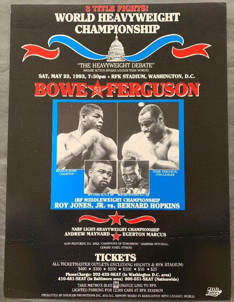 BOWE, RIDDICK-JESSE FERGUSON & ROY JONES, JR.-BERNARD HOPKINS ON SITE POSTER (1993)