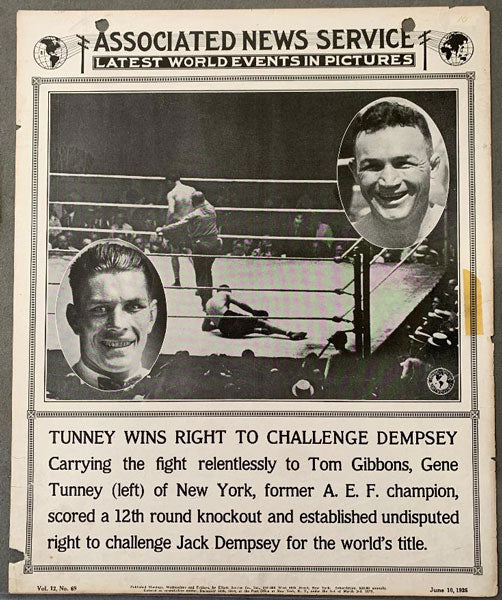 TUNNEY, GENE-TOMMY GIBBONS ASSOCIATED NEWS SERVICE POSTER (1925)