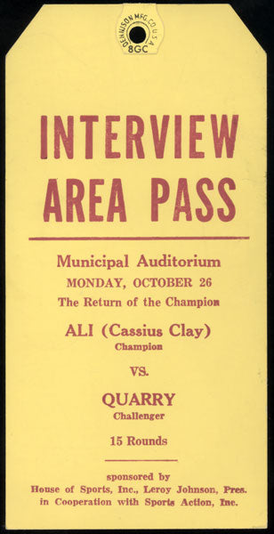 ALI, MUHAMMAD-JERRY QUARRY I INTERVIEW AREA PASS (1970)