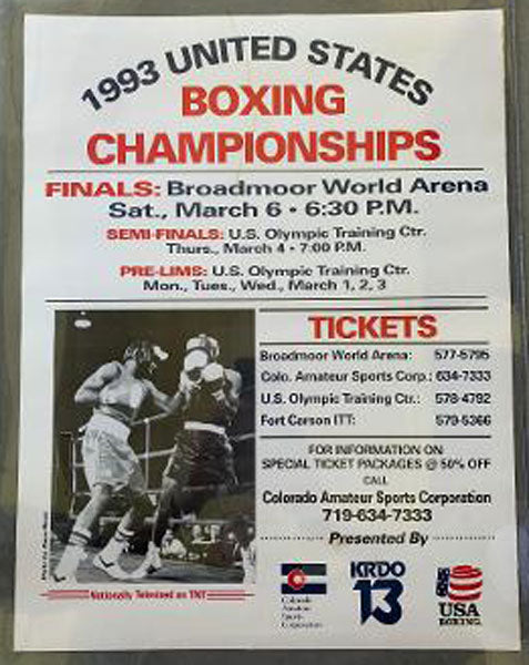 1993 UNITED STATES BOXING CHAMPIONSHIPS ON SITE POSTER (TARVER)