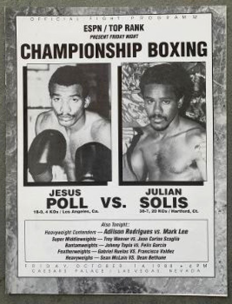 TAPIA, JOHNNY-JORGE SALINAS & JESUS POLL-JULIAN SOLIS OFFICIAL PROGRAM (1988)