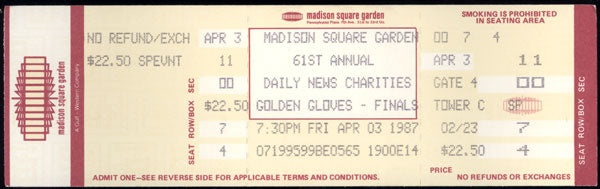BOWE, RIDDICK 1987 GOLDEN GLOVES FINALS FULL TICKET
